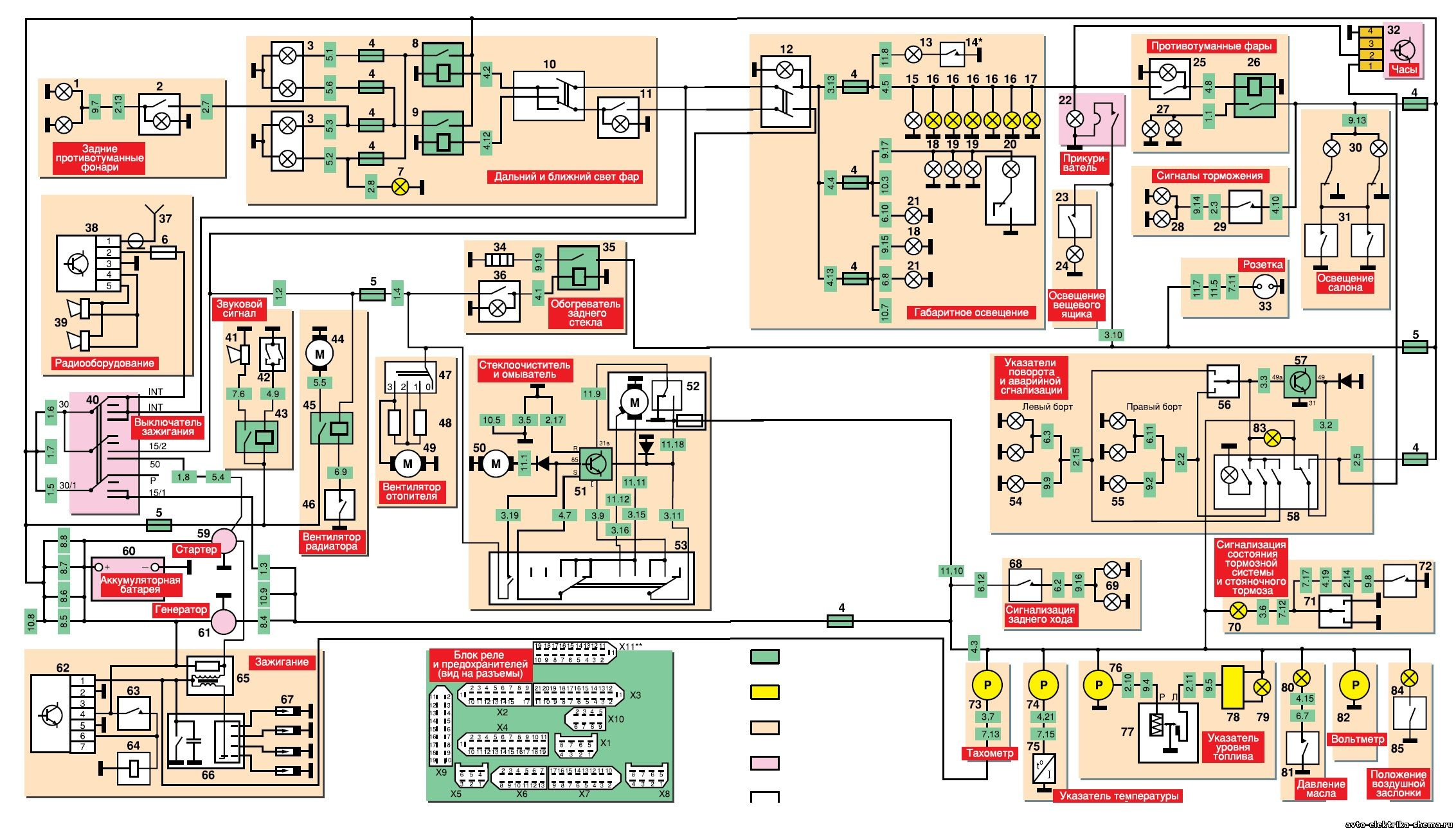 схема соединений задних фонарей москвич 2141