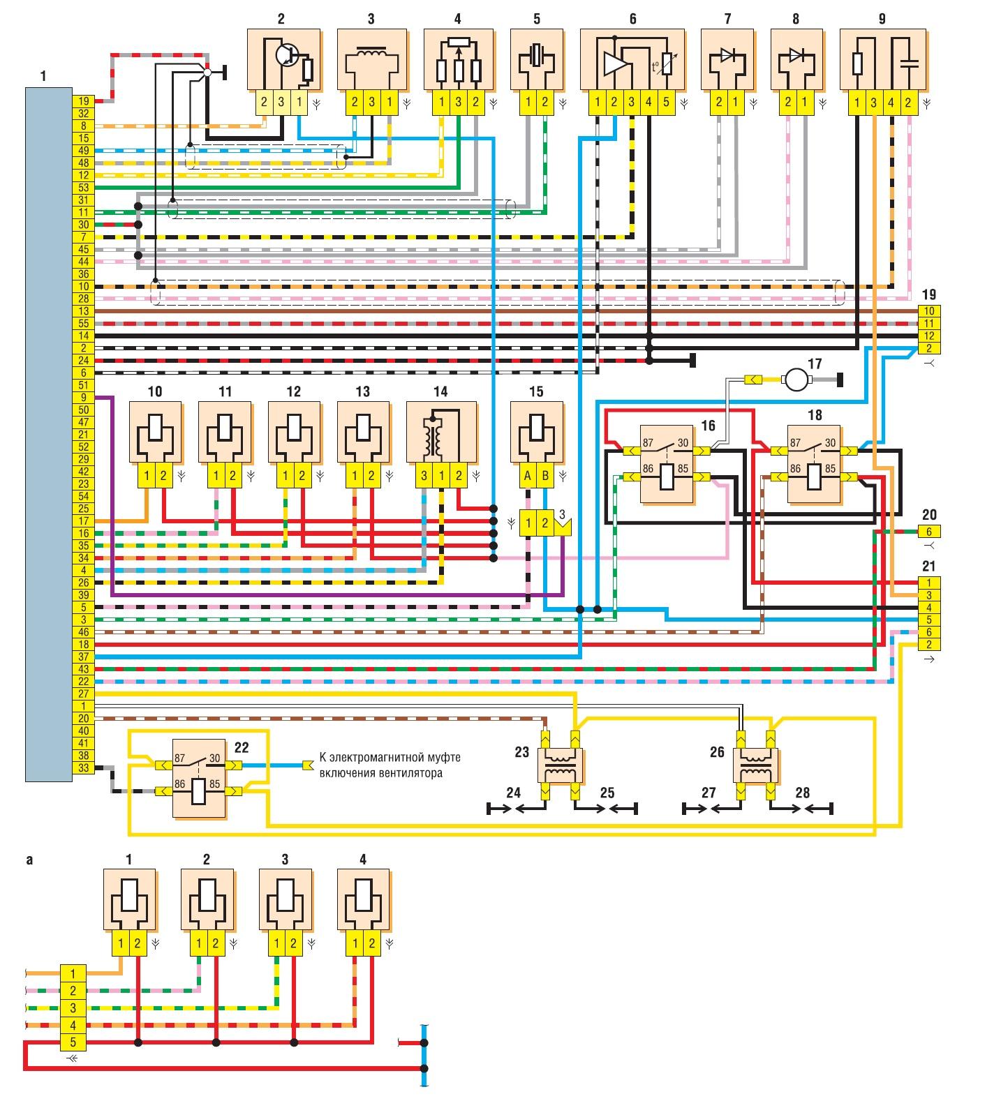 Электросхема газель 406 инжектор