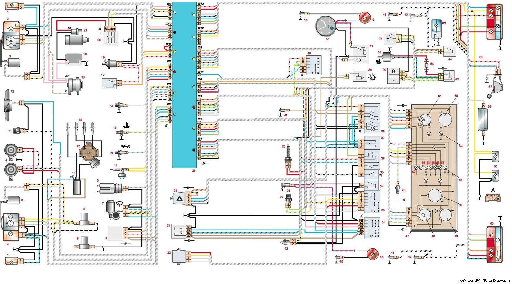 схема электрооборудования ваз 2107 наружного освещения