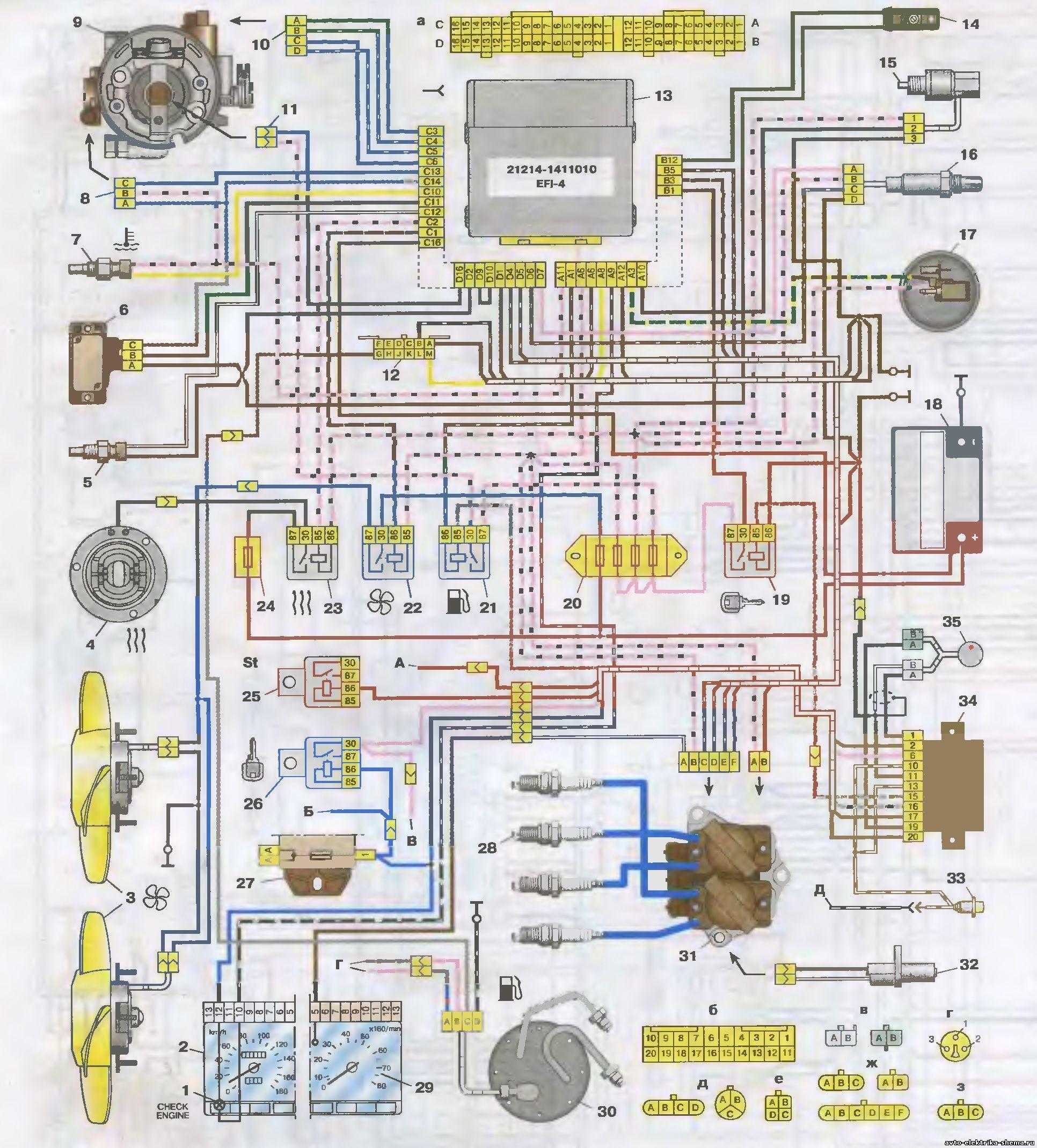 схема узлов и агрегатов ваз 21213