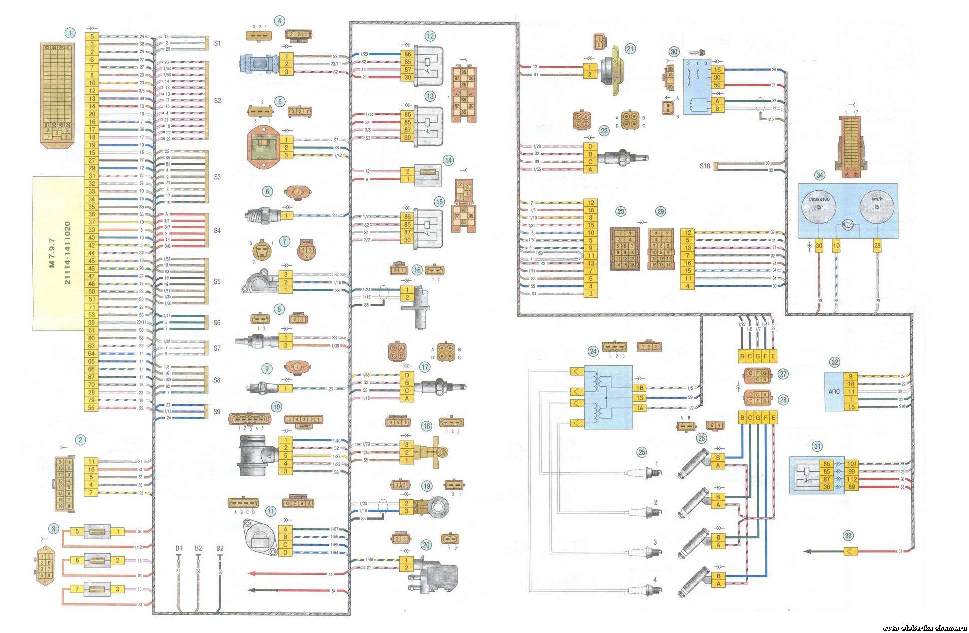 Схема электрооборудования ВАЗ-1118 или Лада Калина, Lada Kalina